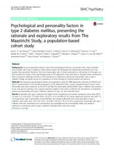 Psychological and personality factors in type 2 diabetes mellitus
