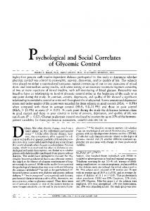 p,sychological and Social Correlates of Glycemic ... - Diabetes Care