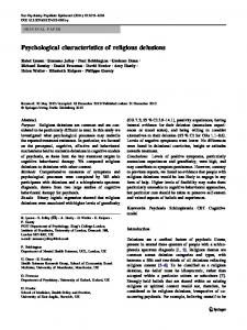 Psychological characteristics of religious delusions - Springer Link