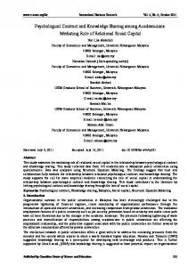 Psychological Contract and Knowledge Sharing among ... - CiteSeerX