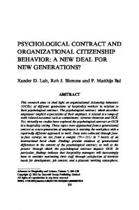 Psychological Contract and Organizational Citizenship Behavior: A