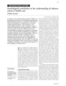 Psychological contribution to the understanding of adverse ... - NCBI