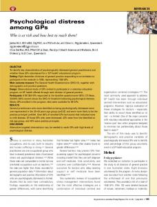 Psychological distress among GPs - Griffith Research Online