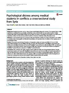 Psychological distress among medical students in