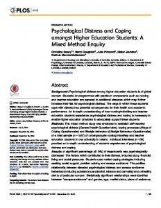 Psychological Distress and Coping amongst