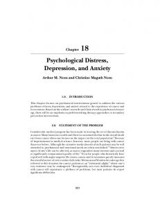 Psychological Distress, Depression, and Anxiety