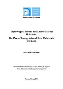 Psychological Factors and Labour Market Outcomes