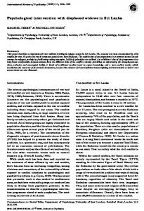 Psychological intervention with displaced widows in ...