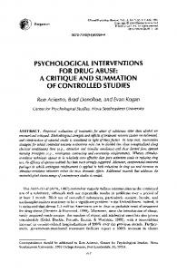 psychological interventions for drug abuse - CiteSeerX