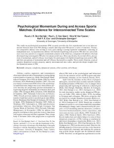 Psychological Momentum During and Across Sports Matches