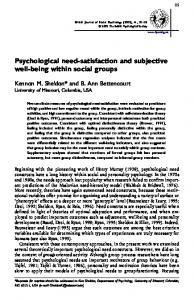 Psychological need-satisfaction and subjective