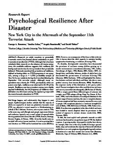 Psychological Resilience After Disaster - CiteSeerX