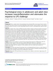 Psychological stress in adolescent and adult mice ... - BioMedSearch