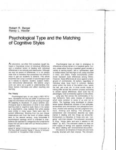 Psychological Type and the Matching - Youngstown State ...