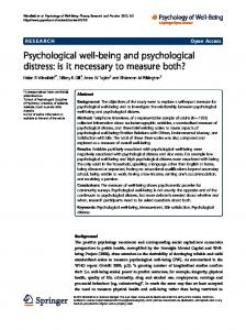 Psychological well-being and psychological distress - Psychology of ...
