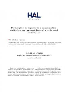 Psychologie socio-cognitive de la communication: applications aux ...