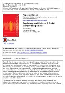 Psychology and Politics: A Social Identity Perspective