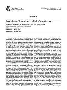Psychology & Neuroscience: the birth of a new journal ... - APA PsycNET