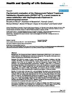 Psychometric evaluation of the Osteoporosis Patient Treatment ...
