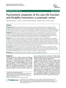 Psychometric properties of the Late-Life Function and Disability ...