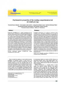 Psychometric properties of the reading comprehension ... - Psicothema