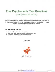 Psychometric Test Sample Questions with Answers