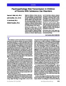 Psychopathology Risk Transmission in Children of Parents With