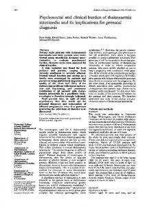 Psychosocial and clinical burden of thalassaemia ... - Europe PMC