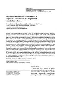 Psychosocial and clinical characteristics of depressive patients with ...
