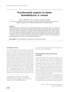 Psychosocial aspects in home hemodialysis: A ... - Wiley Online Library