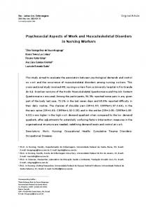 Psychosocial Aspects of Work and