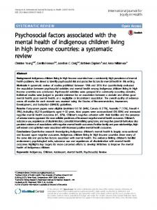 Psychosocial factors associated with the mental health of indigenous ...