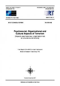 Psychosocial, Organizational and Cultural Aspects of ...