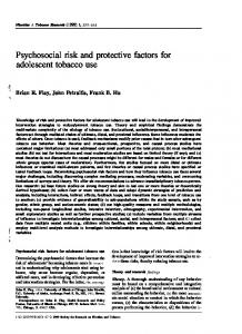 Psychosocial risk and protective factors for