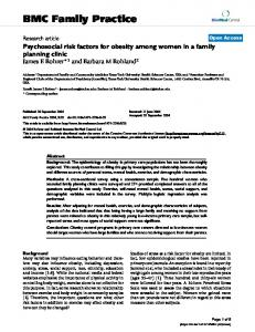 Psychosocial risk factors for obesity among women in a family ...