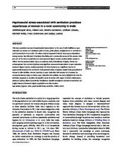 Psychosocial stress associated with sanitation practices: experiences ...