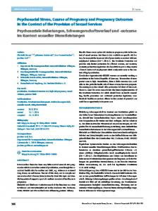 Psychosocial Stress, Course of Pregnancy and ...
