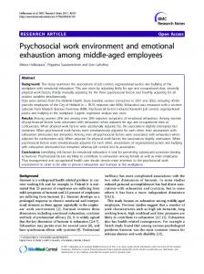 Psychosocial work environment and emotional exhaustion among