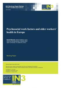 Psychosocial work factors and older workers' health in Europe