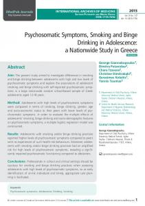 Psychosomatic Symptoms, Smoking and Binge Drinking - CiteSeerX