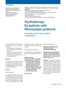 Psychotherapy for patients with fibromyalgia syndrome