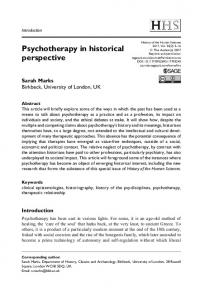 Psychotherapy in historical perspective