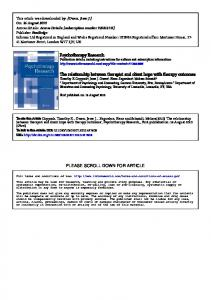 Psychotherapy Research The relationship between