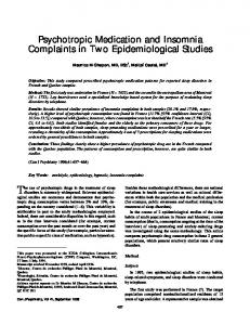 Psychotropic Medication and Insomnia Complaints in Two ...
