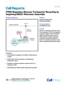 PTEN Regulates Glucose Transporter Recycling by ... - Cell Press