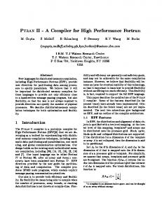 Ptran II - A Compiler for High Performance Fortran - Semantic Scholar
