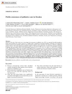 Public awareness of palliative care in Sweden - SAGE Journals