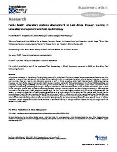 Public health laboratory systems development in East Africa through ...