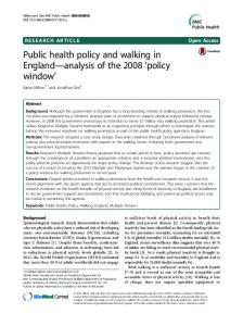 Public health policy and walking in England