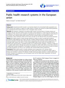 Public health research systems in the European